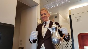 Etihad A380, coffee welcome